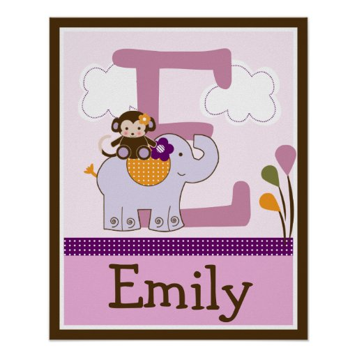 Monkey Girl & Elephant Letter & Name Wall Poster