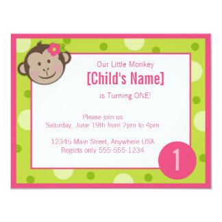 Monkey Girl Green and Pink Birthday Invitation 4.2