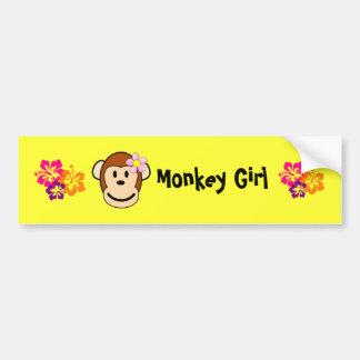 Monkey Girl Island Flower Bumper Sticker Car Bumper Sticker