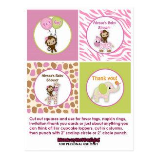 MONKEY Girl Jungle Baby Shower Cupcake Topper JJ Postcard