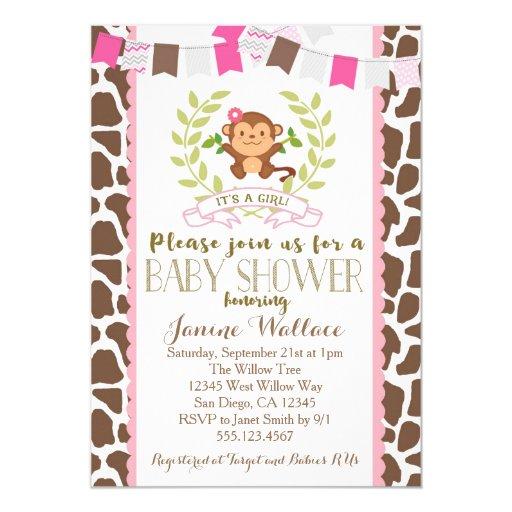 Monkey Girl Pink Baby Shower Invitation