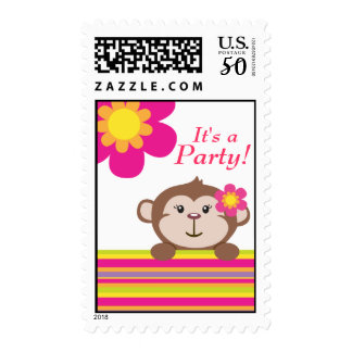 Monkey Girl (Pink) Postage Stamp