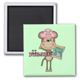 Monkey Girl Pirate Tshirts and Gifts 2 Inch Square Magnet