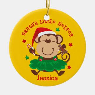Monkey Girl Santa's Helper Personalized Ornament