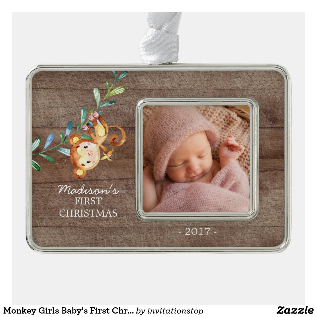 Monkey Girls Baby's First Christmas Photo Ornament