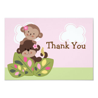 Monkey Girls Sisters Baby Shower Thank You card