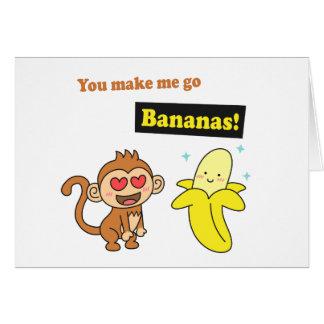 Monkey go Bananas, Cute Love Humor Card