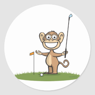 Monkey Golf Classic Round Sticker