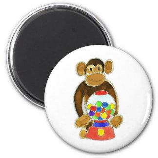 Monkey Gumball Machine 2 Inch Round Magnet