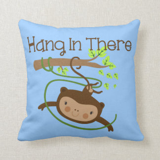 Monkey Hang in There Throw Pillows