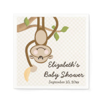 Monkey Hanging From Tree with Banana Baby Shower Paper Napkin