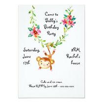 Monkey Hanging on Vine Birthday Invitation