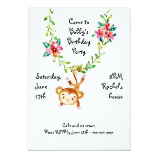 Monkey Hanging on Vine Birthday Invitation