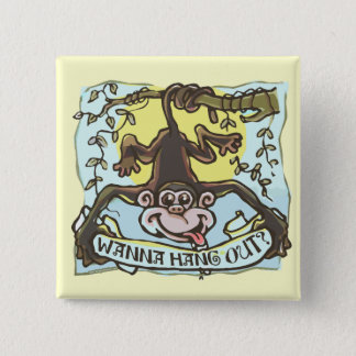 Monkey Hanging Out by Mudge Studios Button