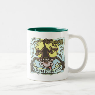 Monkey Hanging Out by Mudge Studios Two-Tone Coffee Mug
