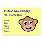 monkey head birthday invitation business card