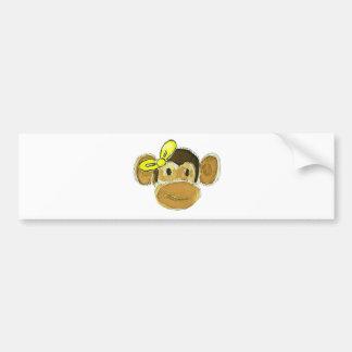 monkey head yellow bow bumper sticker
