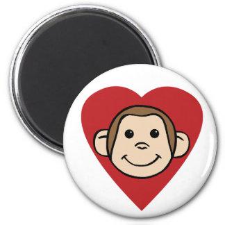 Monkey Heart 2 Inch Round Magnet
