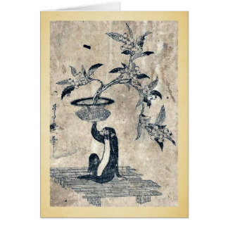 Monkey holding a potted loquat by Utamaro II,d.ca Greeting Card