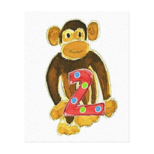 Monkey Holding Two Canvas Prints