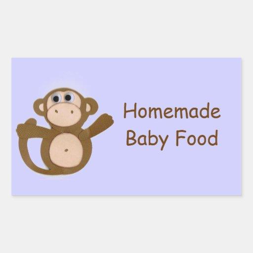 Monkey Homemade Baby Fruit Vegetable Food Label Rectangular Sticker