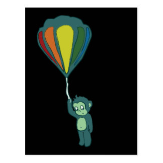 monkey hot air balloon ink post cards