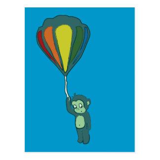 monkey hot air balloon ink post card