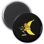 monkey hugging banana 2 inch round magnet