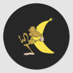 monkey hugging banana classic round sticker