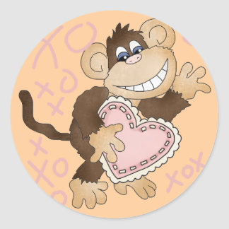 Monkey Hugs and Kisses Tshirts and Gifts Classic Round Sticker