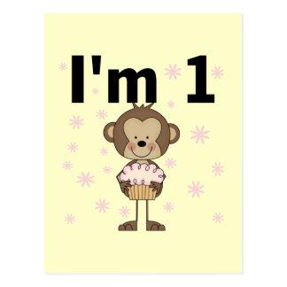 Monkey I'm 1 Birthday Tshirts and Gifts Postcard
