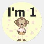 Monkey I'm 1 Birthday Tshirts and Gifts Round Sticker