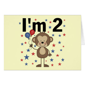 Monkey I'm 2 Tshirts and Gifts Greeting Card
