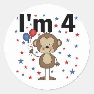Monkey I'm 4 T-shirts and gifts Classic Round Sticker