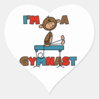 Monkey I'm a Gymnast Heart Sticker