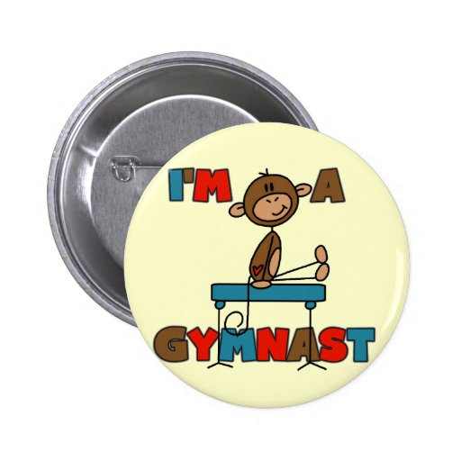 Monkey I'm a Gymnast T-shirts and Gifts 2 Inch Round Button