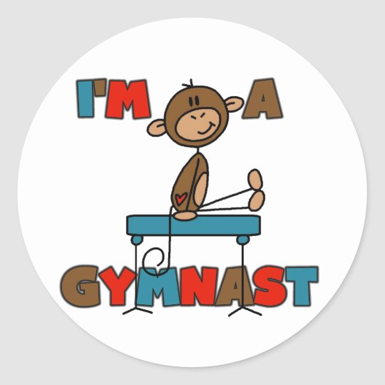 Monkey I'm a Gymnast T-shirts and Gifts Classic Round Sticker