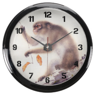 Monkey in a Persimmon Tree Aquarium Clock