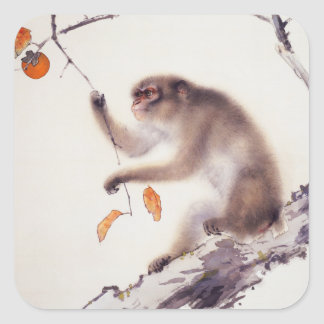 Monkey in a Persimmon Tree Square Sticker