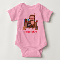 Monkey in Classroom Back to School Baby Bodysuit