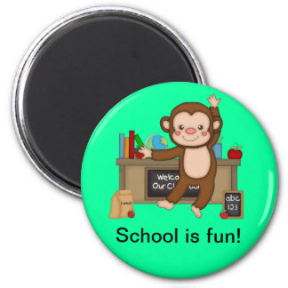 Monkey in Classroom Back to School Magnet