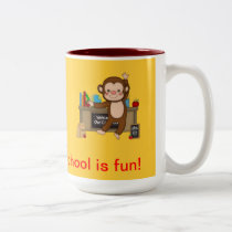 Monkey in Classroom Back to School Two-Tone Coffee Mug