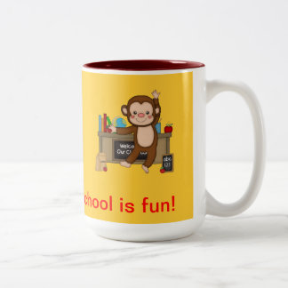 Monkey in Classroom Back to School Two-Tone Coffee Mug