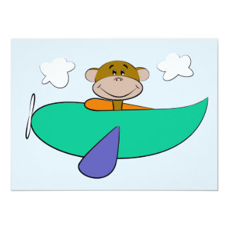 Monkey in Colorful Airplane Birthday Custom Announcements
