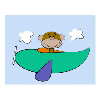 Monkey in Colorful Airplane Birthday Postcard