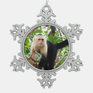 Monkey in Costa Rica Snowflake Pewter Christmas Ornament