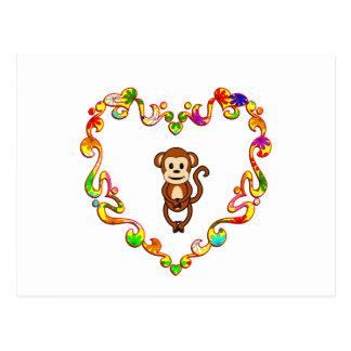 Monkey in Fancy Heart Postcard