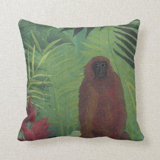 Monkey in Jungle Palms by Henri Rousseau Pillow