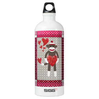 Monkey in love. aluminum water bottle