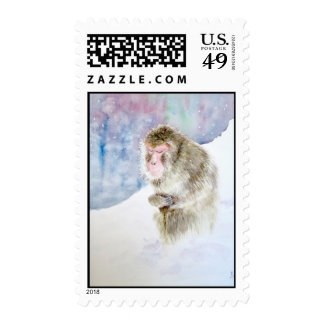MONKEY IN MEDITATION - US Stamp Stamp